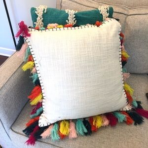Threshold Square Tassel Throw Pillow White 18.5